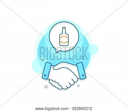 Scotch Alcohol Sign. Handshake Deal Complex Icon. Whiskey Bottle Line Icon. Agreement Shaking Hands