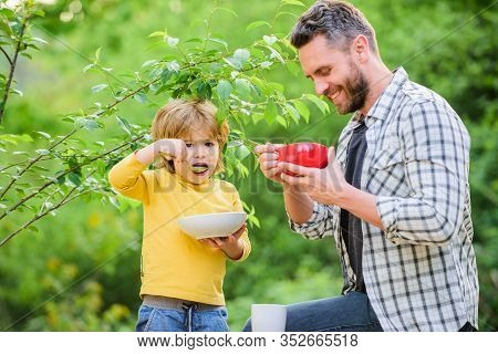 Nutrition Habits. Family Enjoy Homemade Meal. Healthy Breakfast. Father Son Eat Food. Little Boy And
