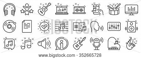 Set Of Acoustic Guitar, Musical Note, Vinyl Record Icons. Music Line Icons. Jazz Saxophone, Drums Wi
