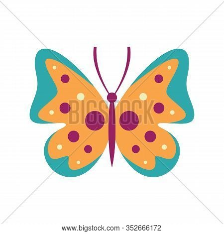 Motley Butterfly Flat Icon. Vector Motley Butterfly In Flat Style Isolated On White Background. Elem