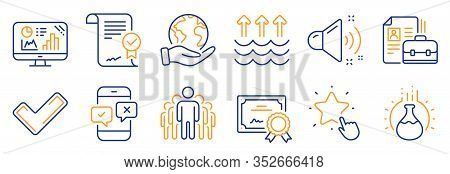 Set Of Education Icons, Such As Vacancy, Evaporation. Certificate, Save Planet. Approved Agreement,