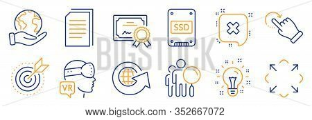 Set Of Technology Icons, Such As Augmented Reality, Rotation Gesture. Certificate, Save Planet. Reje
