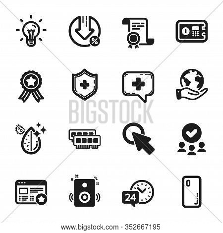 Set Of Technology Icons, Such As Medical Shield, Click Here. Certificate, Approved Group, Save Plane