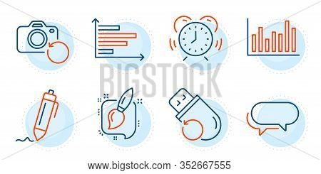 Signature, Bar Diagram And Flash Memory Signs. Horizontal Chart, Painting Brush And Time Management