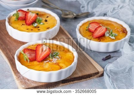 Creme Brulee - Traditional French Vanilla Cream Dessert With Caramelised Sugar On Top. Leite Creme,