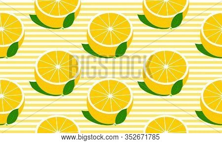 Seamless Background With Stripes And Half Grapefruit With Leaves. Vector Fruit Design For Pattern Or