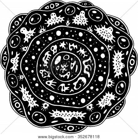 Surreal Mandala With Alien Creatures And Circles. Psychedelic Coloring Page For Adults. Fantastic Fl