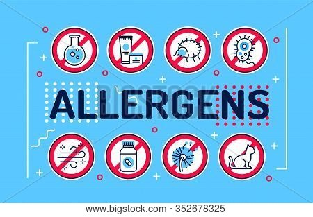 Allergens Word Lettering Typography. Infographics With Linear Icons On Blue Background. Creative Ide