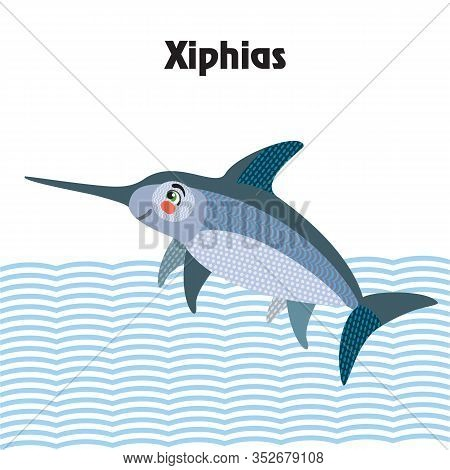 Colorful Decorative Outline Cute Xiphias (swordfish) Swimming In Profile. Wild Animals And Birds Vec