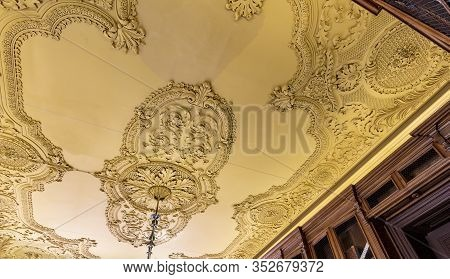 Lisbon - August 30, 2019: Detail Of The Many Ceiling Patterns Of The Palace Of The Counts Of Azambuj