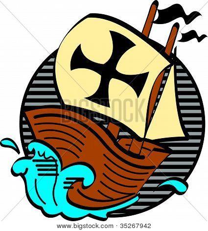 Mayflower boat Thanksgiving clip art in cartoon style poster