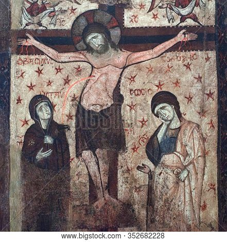 Kalambaka, Greece - March 17, 2018: Ancient Painting With Crucifixion From Meteora Church, 16-th Cen