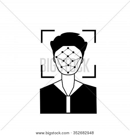 Silhouette Of Male Head In Recognition Camera. Face Scan System Recognition Outline Icon. Biometric
