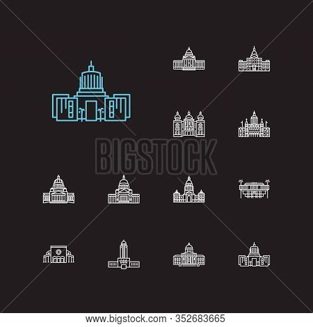 Landmark Icons Set. Arkansas State Capitol And Landmark Icons With Landmark, Downtown, Michigan Stat