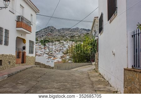 View Of The Pueblo Blanco Montejaque. White Mountain Village In Malaga, Andalusia. Spain