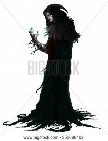 Black Magician Warlock. Black Magic Character On A White Background. Realistic Illustration Isolated