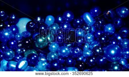 Blue Pearls And Beads Background Made Of Different Kinds Of Beads