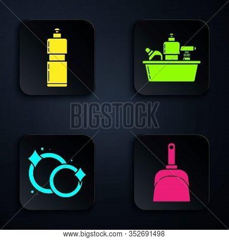 Set Dustpan , Plastic Bottles For Liquid Dishwashing Liquid, Washing Dishes And Plastic Bottles For
