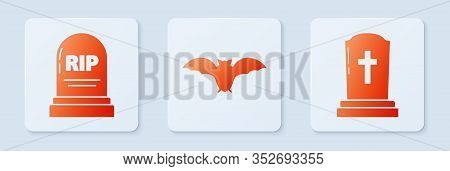Set Flying Bat , Tombstone With Rip And Tombstone With Cross . White Square Button. Vector