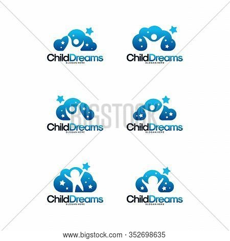 Set Of Cloud Dreams Logo Designs, Online Learning Logo Designs Vector, Kids Dream Logo, Child Dream