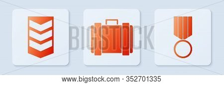 Set Military Ammunition Box, Military Rank And Military Reward Medal . White Square Button. Vector