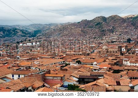 Cusco, View Of The Centre Of Cusco City With The Cathedral, Peru