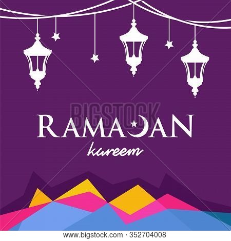 Ramadan Kareem Background Banner, Ramadan Kareem With Lantern Vector Illustration