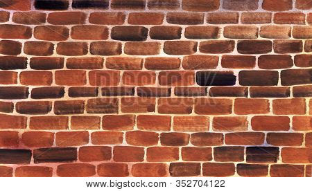Watercolor Old Brick Wall Background. Abstract Hand Drawn Illustration Of Texture Weathered Masonry.