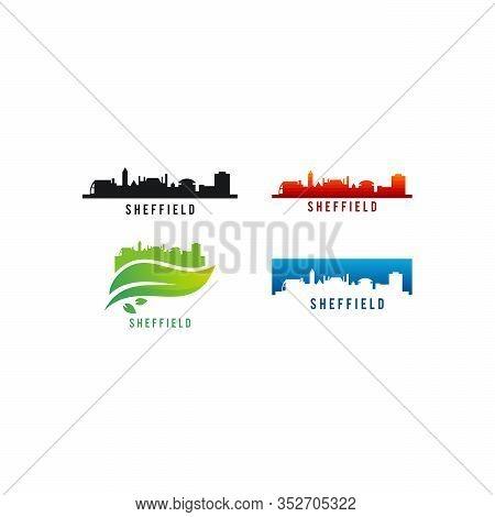 Set Of Various Sheffield City Skyline Silhouette Vector Illustration