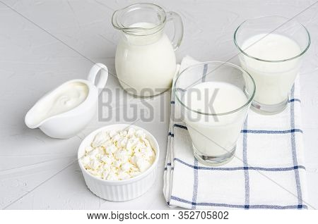 Homemade Fermented Milk Products - Kefir, Cottage Cheese On A White Background, Copy Space, Flat Lay