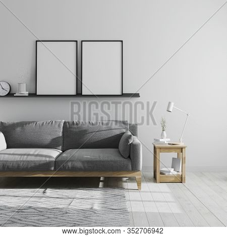 Two Blank Poster Frame Mock Up On Shelf In Gray Living Room Interior Background, Scandinavian Style