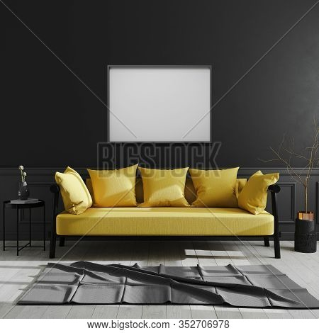 Blank Frame On Black Wall, Horizontal Picture Frame Mock Up In Dark Modern Interior Background With