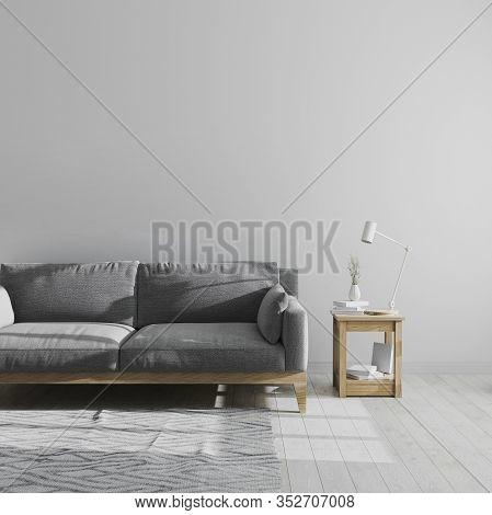 Gray Living Room Interior Mock Up, Scandinavian Style Living Room Interior Background, Minimalist Ro