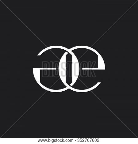 Letter Ge Linked Flat Overlapping Design Logo Vector