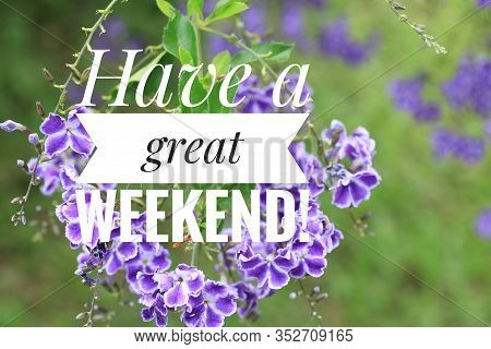 Greeting Card - Have A Great Weekend. With Beautiful Purple Flowers Background. Nice Weekend Concept