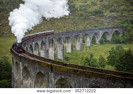 Scotland, United Kingdom - May 30, 2019: The Hogwarts Express Is The Name Of The Train That Makes A