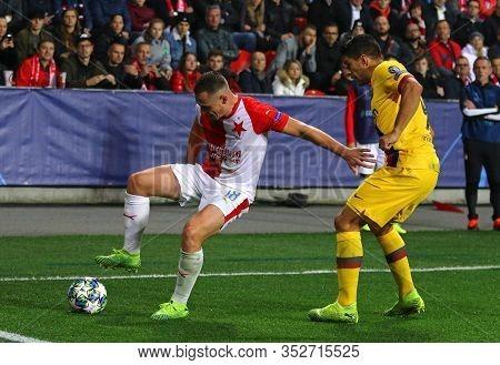 Prague, Czechia - October 23, 2019: Jan Boril Of Slavia Praha (l) Fights For A Ball With Luis Suarez
