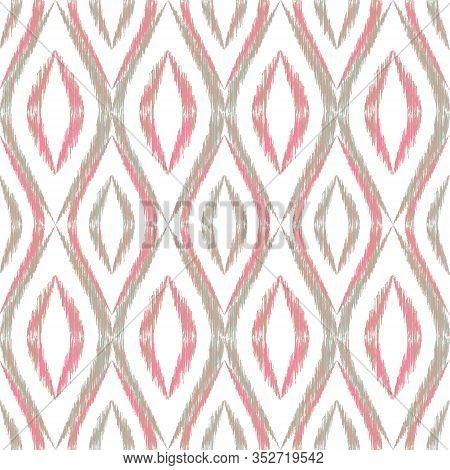 Ikat Ogee Seamless Vector Pattern Illustration. Ethnic Fabric Print Geometric Ikat Pattern. Simple O