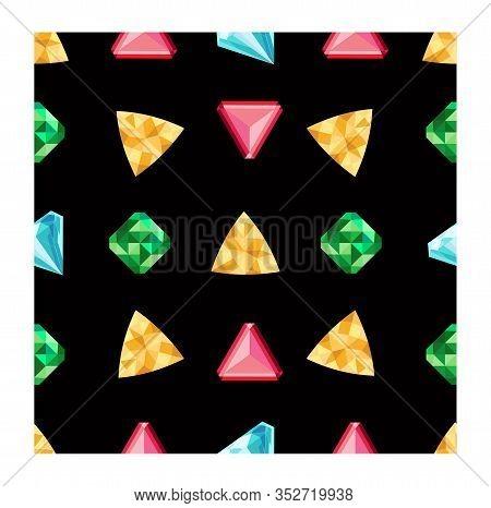 Gem Seamless Pattern. Vector Jewels Gemstone On Black Background. Diamonds Or Brilliants Seamless Pa