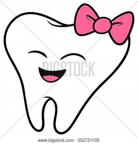 Kawaii Baby Tooth - A Cartoon Illustration Of A Kawaii Style Baby Tooth.