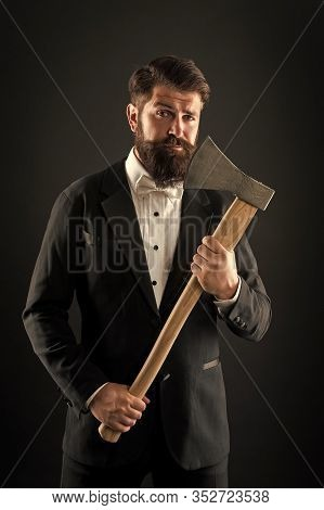 Own Opinion. Decision Was Made. Man Brutal Hipster With Axe. Sharp Ax Hand Confident Guy. Masculinit