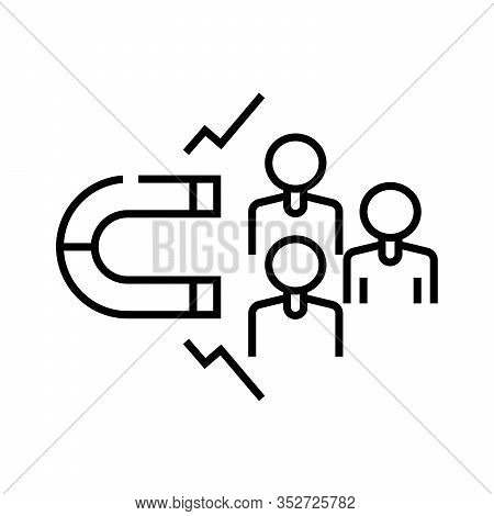 Attract Clients Line Icon, Concept Sign, Outline Vector Illustration, Linear Symbol.
