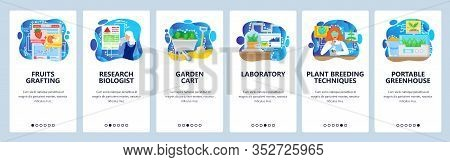 Biology Science Lab And Biotechnology Research. Greenhouse, Plants Breeding Lab. Mobile App Onboardi