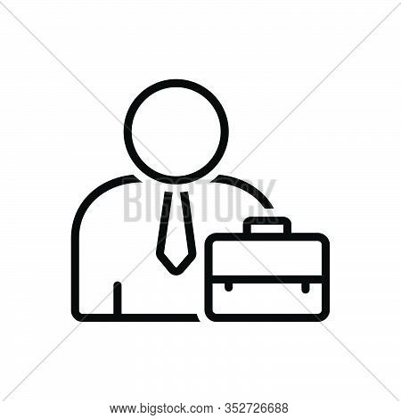 Black Line Icon For Employee Worker Roustabout Toiler Breadwinner Trader Peasant Laborer Briefcase