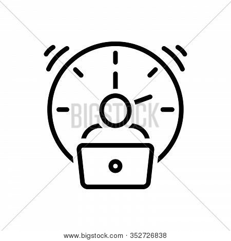 Black Line Icon For Overtime Extra Fatigue Tired Exhausted Working Atelier Pile Employee Clock Entre