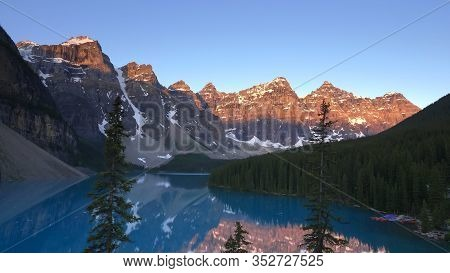 View Of Moraine Lake At Sunrise In Banff Np