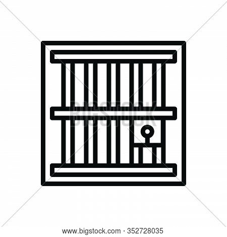 Black Line Icon For Jail Imprisonment Confinement Captivity Penitentiary Bridewell Incarceration Sla