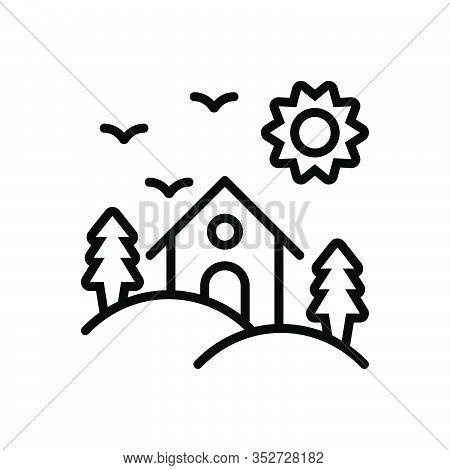 Black Line Icon For Habitat Dwelling Abode Vicarage Residence Accommodation Shelter Domicile Hill-ar