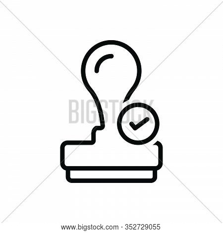 Black Line Icon For Qualify Certify Enable Entitle Authorize Capacitate Stamper Appropriate Guarante