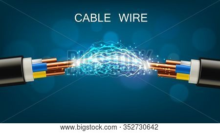 Electrical Cable With Copper Wires, Power Equipment Of Energy Industry. Vector Realistic Cable Break